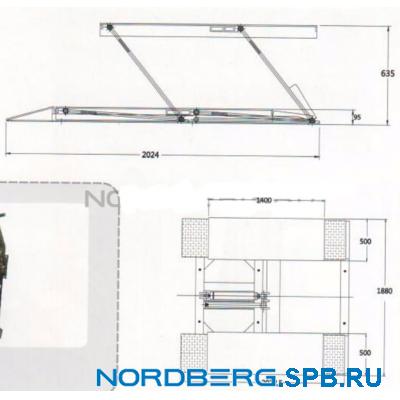 Подъемник ножничный для шиномонтажа и зоны приемки, г/п 2,5 тонны Nordberg N633-2.5 (220В)