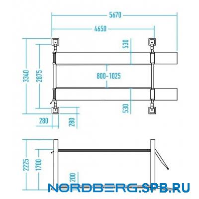 Подъемник четырехстоечный 4,5 тонны Nordberg 4445J