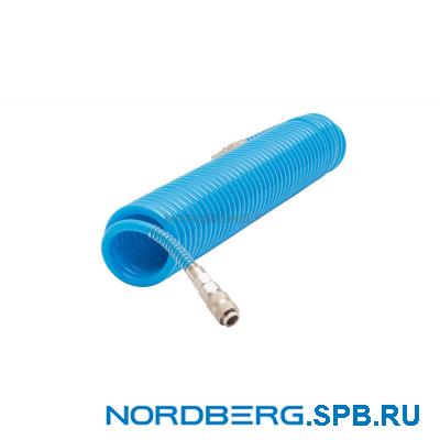 Шланг полиуретановый спиральный 10х14 мм с быстросъемными переходниками, 10 м Nordberg HS1010PU