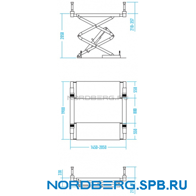 Подъемник ножничный, г/п 3,5 тонны Nordberg N631-3,5 + SUV