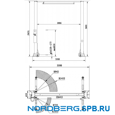Подъемник двухстоечный с верхней синхронизацией 4 тонны Nordberg N4120H-4T