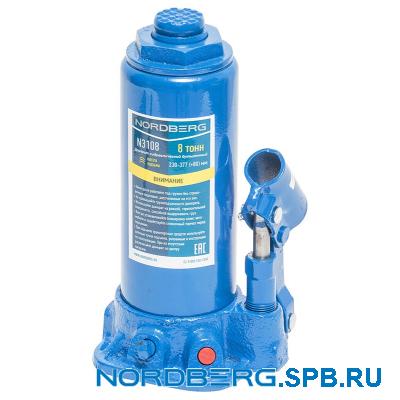 Домкрат бутылочный 8 тонн Nordberg N3108