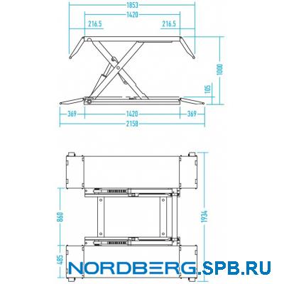 Подъемник ножничный электрогидравлический (без функции аварийного опускания), г/п 3 тонны Nordberg 633S - 3T