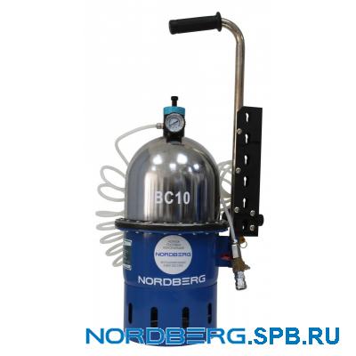 Установка пневматическая для прокачки тормозной системы и системы сцепления, объем 10 л Nordberg BC10