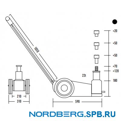 Домкрат подкатной пневмогидравлический, 22 тонны Nordberg N3322L