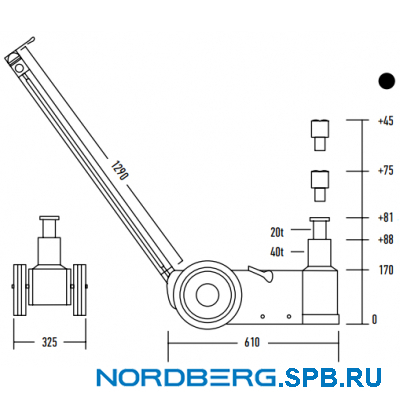 Домкрат подкатной пневмогидравлический, 40 тонн Nordberg N402