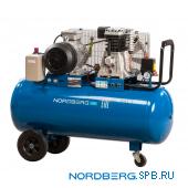 Компрессор поршневой с ременным приводом, объем 100 л Nordberg ECO NCE100/520