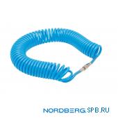 Шланг полиуретановый спиральный 8х12 мм с быстросъемными переходниками, 15 м. Nordberg HS0815PU