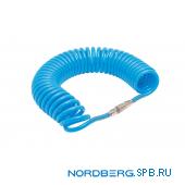 Шланг полиуретановый спиральный 8х12 мм с быстросъемными переходниками, 10 м Nordberg HS0810PU